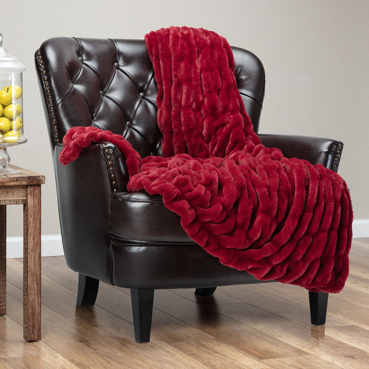Ruched Maroon Throw