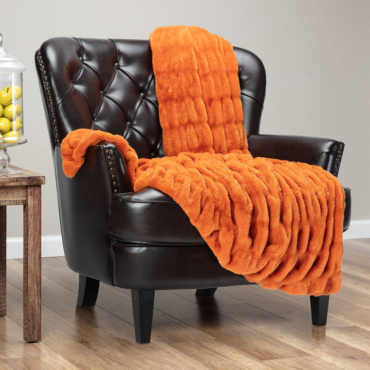 Ruched Orange Throw