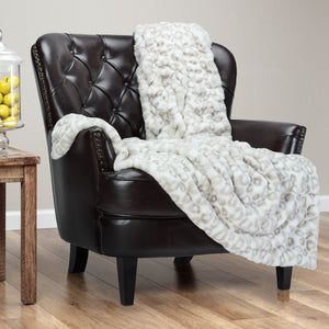 Ruched Silver Leopard Throw