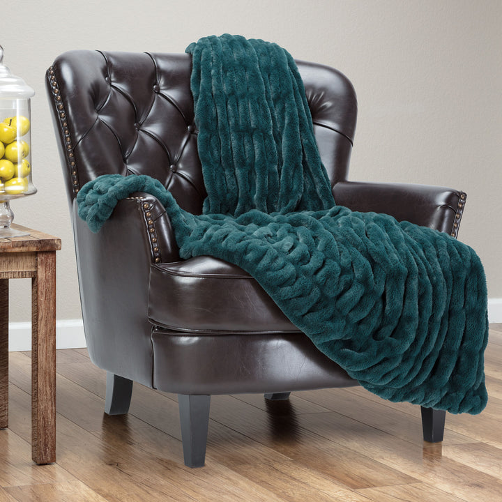 Ruched Teal Throw