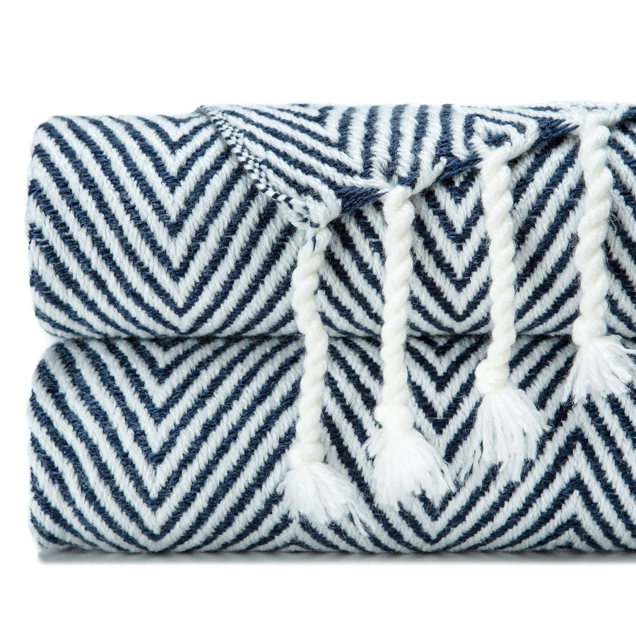 Soft Chevron Dark Blue Throw