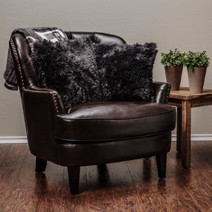 Solid Long Fur Pillow Cover Black x2