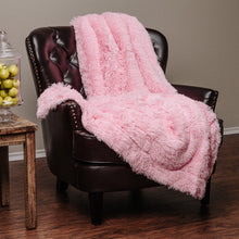 Solid Long Fur Pink Throw