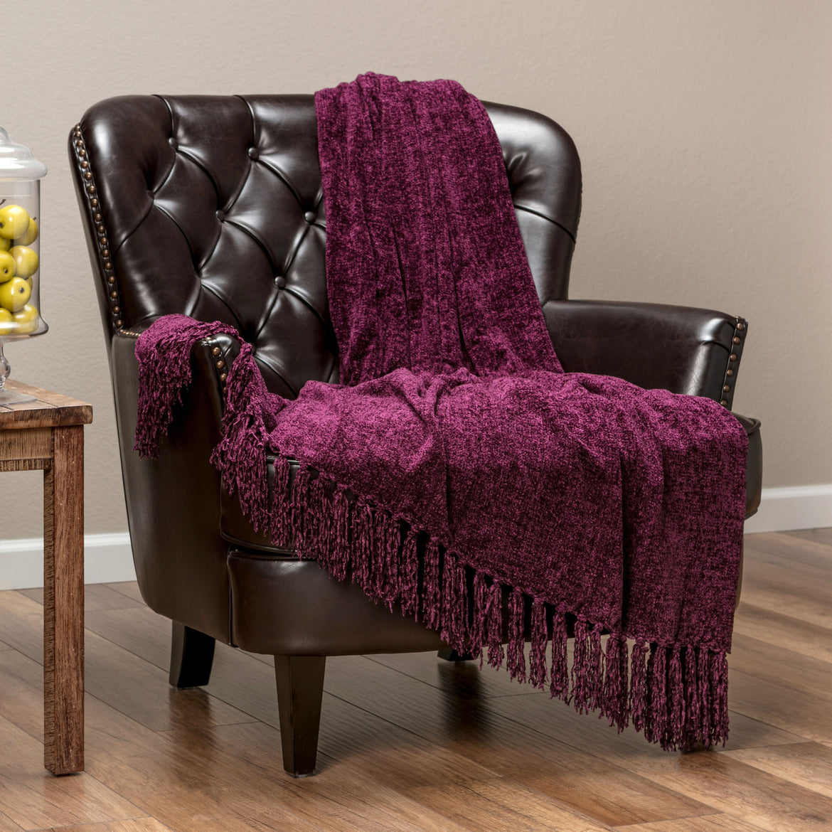 Chenille Aubergine Throw