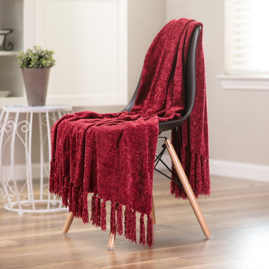 Chenille Red Throw