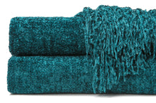 Chenille Teal Throw