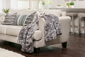 Ruched Dark Gray Throw