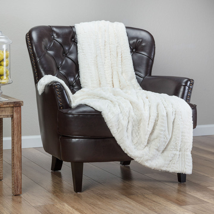 Feather Off White Throw