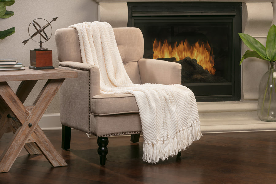 Textured Creme Throw
