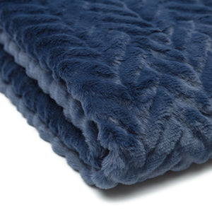 Fur Embossed Blue Throw