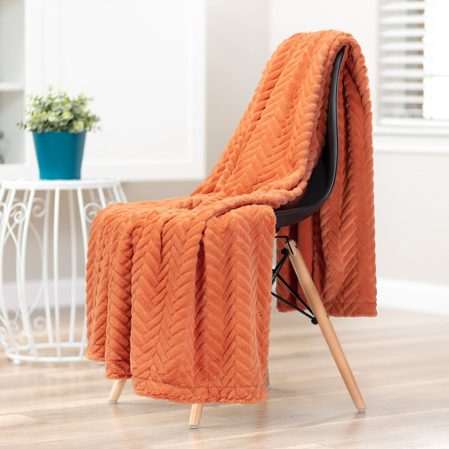 Fur Embossed Burnt Orange Throw