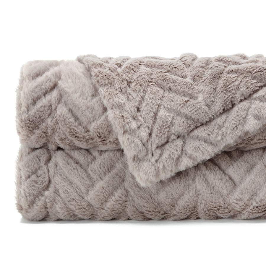 Fur Embossed Taupe Gray Throw