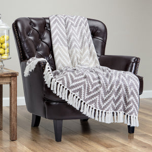 Grid Chevron Gray Throw