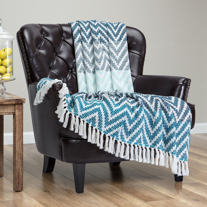 Grid Chevron Navy Throw