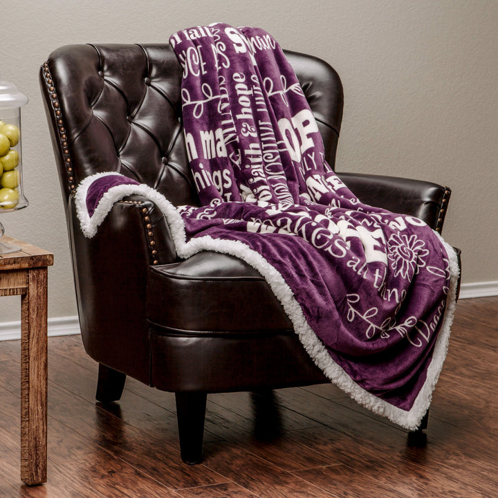 Hope Faith Aubergine Throw