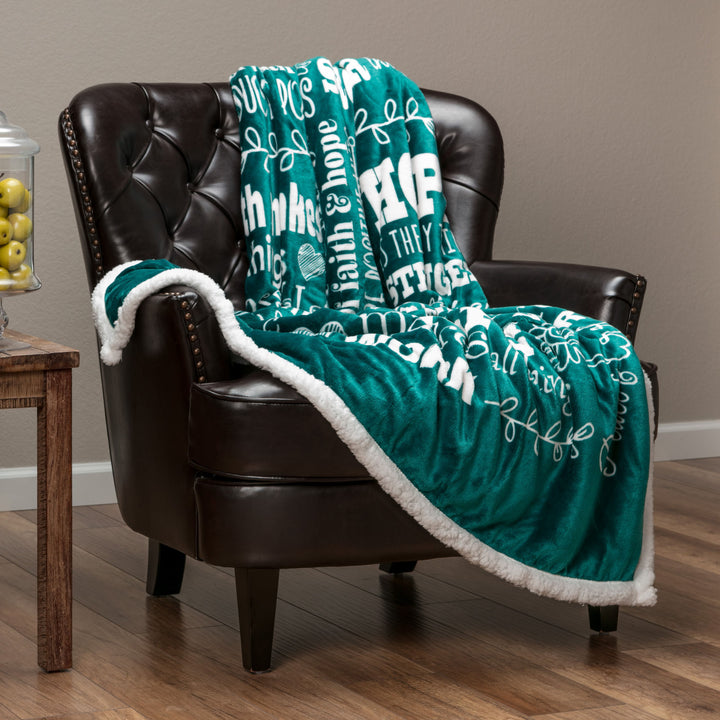 Hope Faith Teal Green Throw