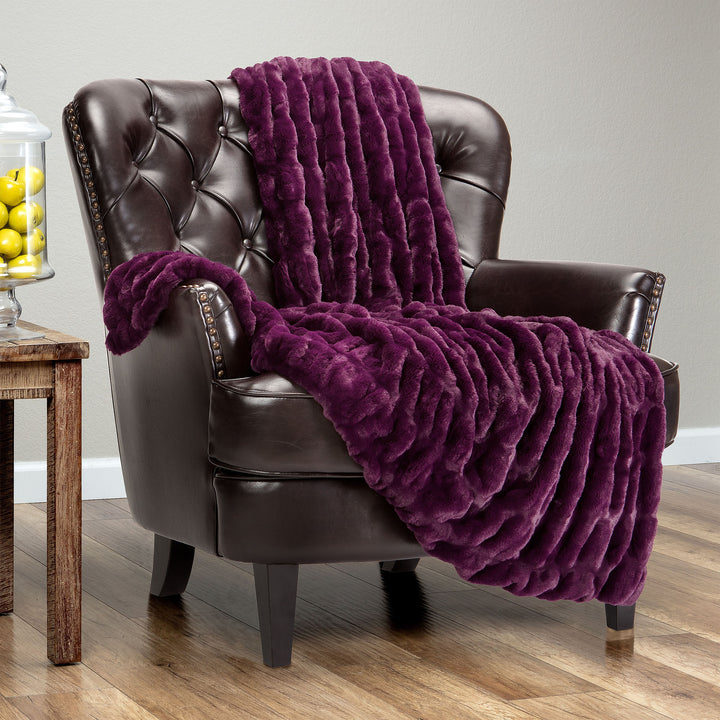 Ruched Aubergine Throw