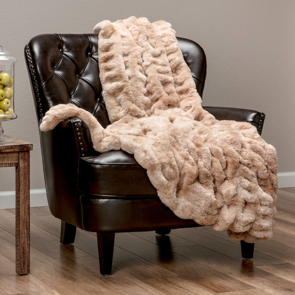 Ruched Beige Throw