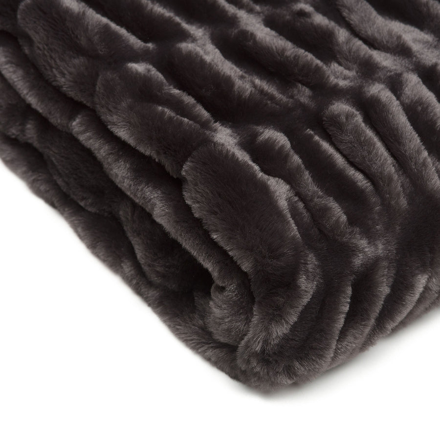 Ruched Black Throw