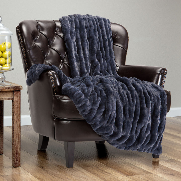Ruched Blue Charcoal Throw