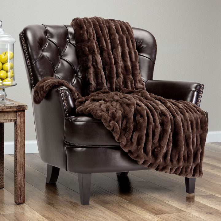 Ruched Mocha Throw