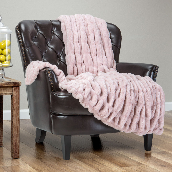 Ruched Tan Rose Throw