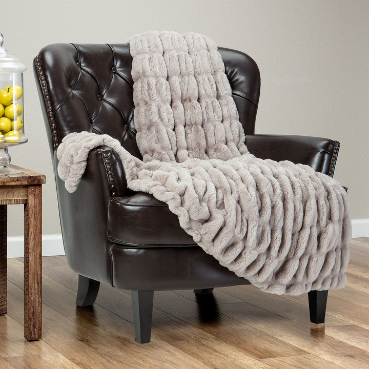 Ruched Taupe Throw