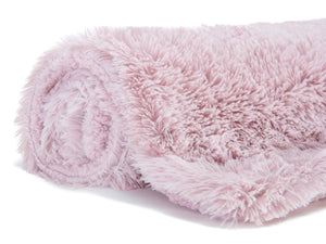 Solid Long Fur Rose Dust Throw
