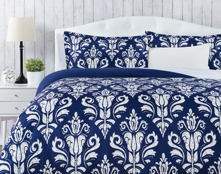 Stencil Blue Duvet Set