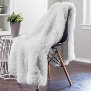 Solid Long Fur White Throw