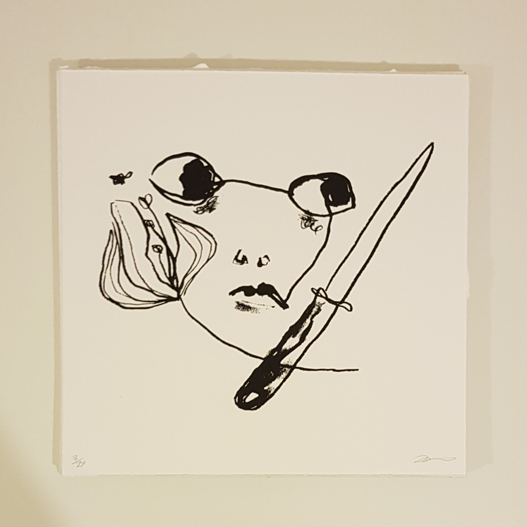 Girl with Penknife and Flower (featuring Bee) - Screen Print