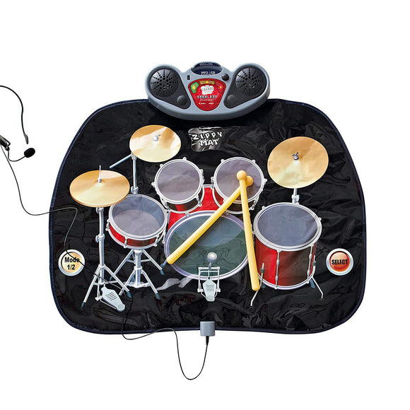 Global Gizmos Drum Kit Music Game Playmat ~ Kids, Fun ~ Includes Drumsticks ~ Interactive, Sounds ~ 52480