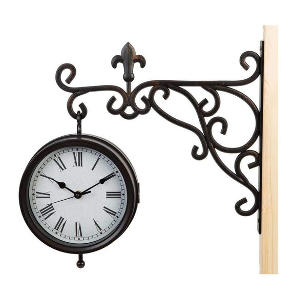 Hometime Wall Bracket Hanging Traditional Double Sided Clock