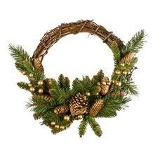 Vine Wreath With Gold Berries And Cones - 40cm