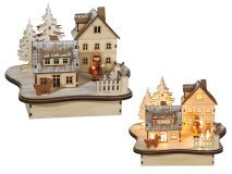 Winter Landscape in Natural Wood with 8 Warm White LED Home 22 x 17 cm