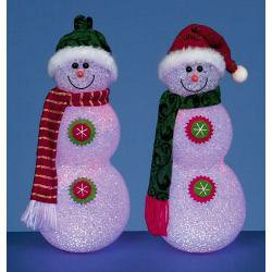1 x Premier Battery Operated Snowman Red And Green 27cm rubber