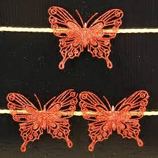 Home Exclusive Clip On Butterfly Christmas Tree Trim Red Pack of 3