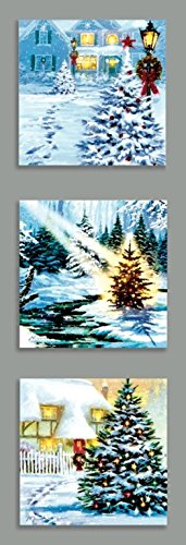 Set of 3 Xmas Tree Scene Christmas Picture Canvas 4 LED 30x30cm