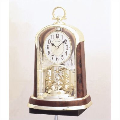 Rhythm Cont Mantel Clock 2Tone Gilt/Wood Ring Hook Pendulum
