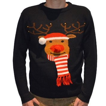 3D Knitted Christmas Jumper in Navy Reindeer - Medium