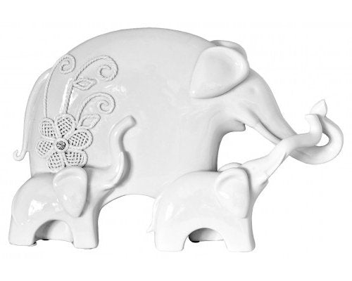 White elephant with two young Sculpture