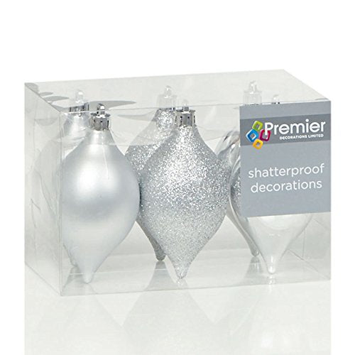 Set of 6 Shatterproof Silver Minaret Christmas Tree Decorations (95cm) by Premier Decorations