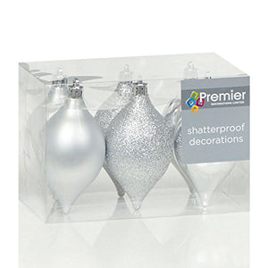Set of 6 Shatterproof Silver Minaret Christmas Tree Decorations (95cm)
