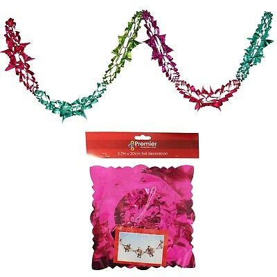 Christmas Foil Garland Ceiling Decoration 20cm x 2.7M 6 Section - Multi Colour