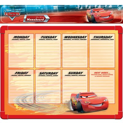 Official Disney Pixar Cars Weekly Planner Wipe Board
