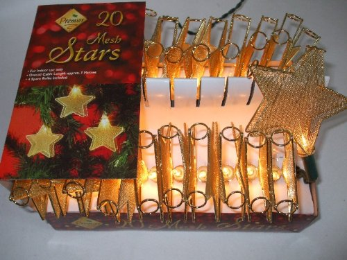 20 Gold MESH Star Lights