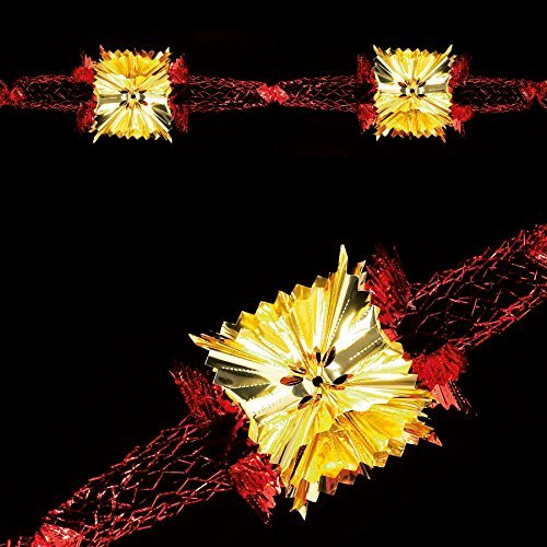 Christmas Foil Ceiling Decoration 20cm 4 Section Full Garland - Red gold Ceiling Decorations Christmas Premier by Premier