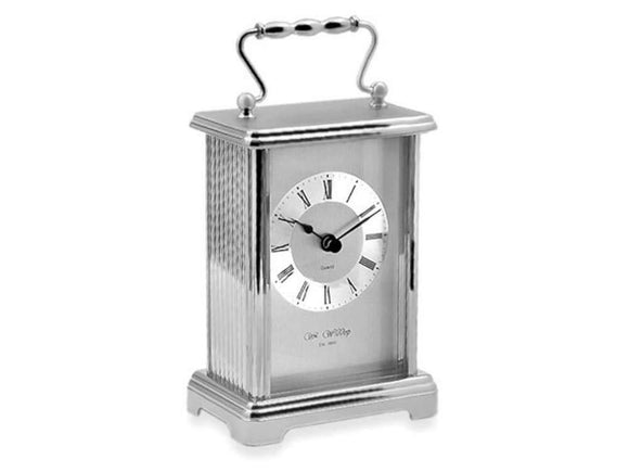 Widdop William Silver Finish White Dial Black Roman Numerals Carriage Clock