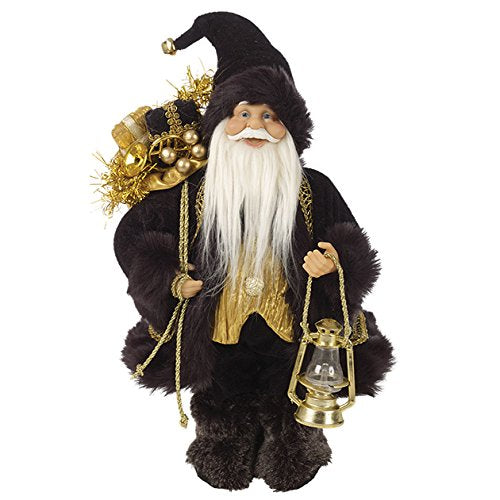 30cm Standing Black Coat Santa Claus Figure
