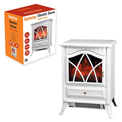 Benross Cast Iron Effect Electric Stove ~ 1800w ~ White ~ 44240